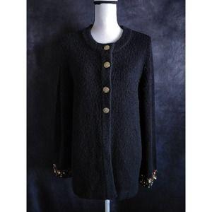 Laura Ashley Vintage Black Beaded Long Cardigan L